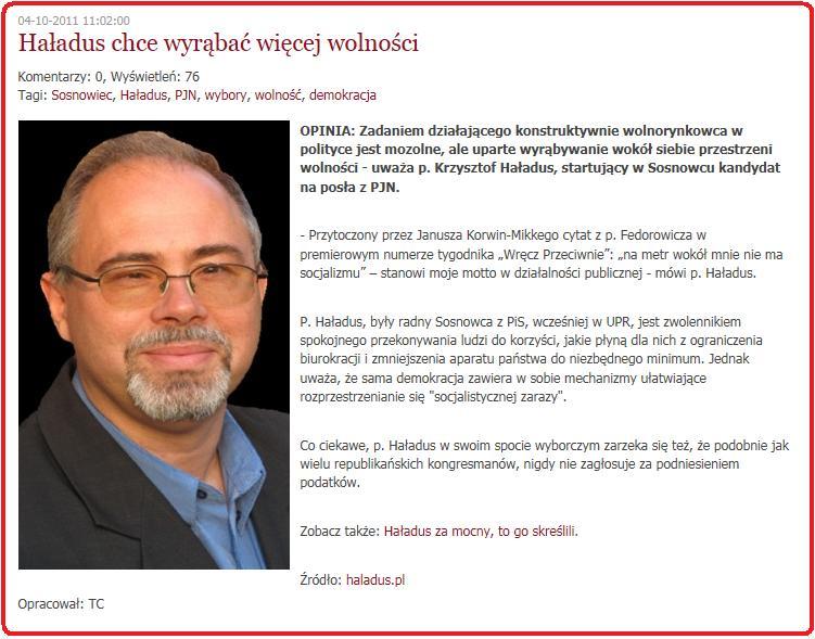 Opis Krzysztofa Haładus na blogu Janusza Korwin-Mikke