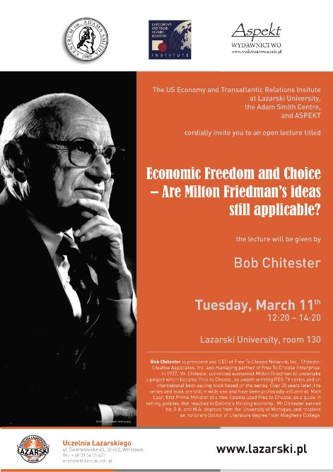 Plakat - Wykład Boba Chitestera o ideach Friedmana